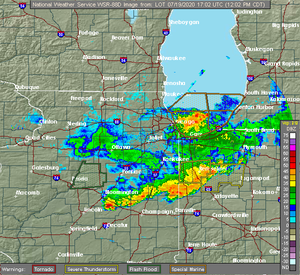 Radar Image for Severe Thunderstorms near Mount Ayr, IN at 7/19/2020 12:07 PM CDT