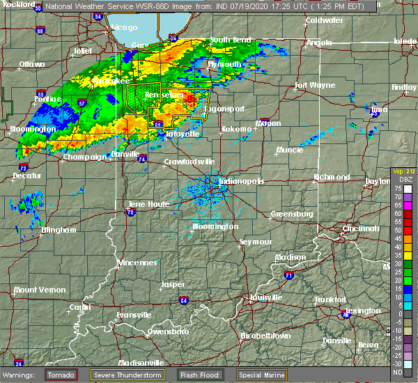 Radar Image for Severe Thunderstorms near Delphi, IN at 7/19/2020 1:28 PM EDT