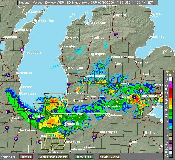 Radar Image for Severe Thunderstorms near South Haven, MI at 7/19/2020 1:37 PM EDT