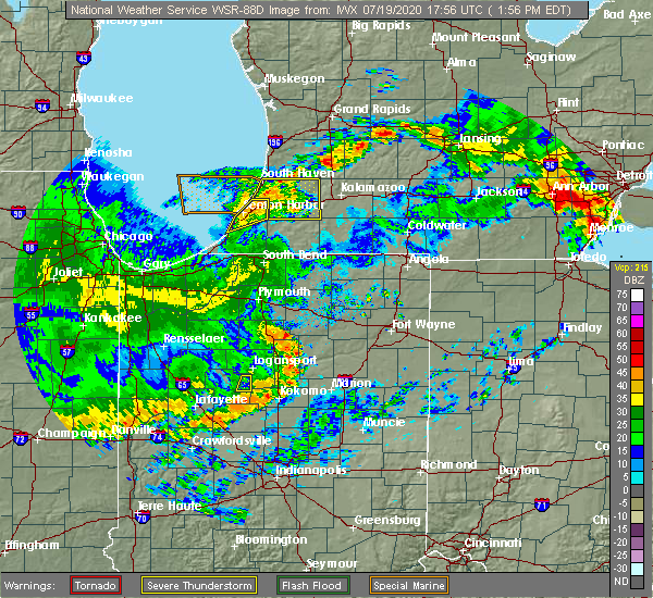Radar Image for Severe Thunderstorms near Geneva, IN at 7/19/2020 2:01 PM EDT