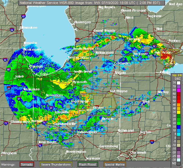 Radar Image for Severe Thunderstorms near Geneva, IN at 7/19/2020 2:15 PM EDT