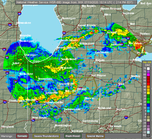 Radar Image for Severe Thunderstorms near Geneva, IN at 7/19/2020 2:25 PM EDT
