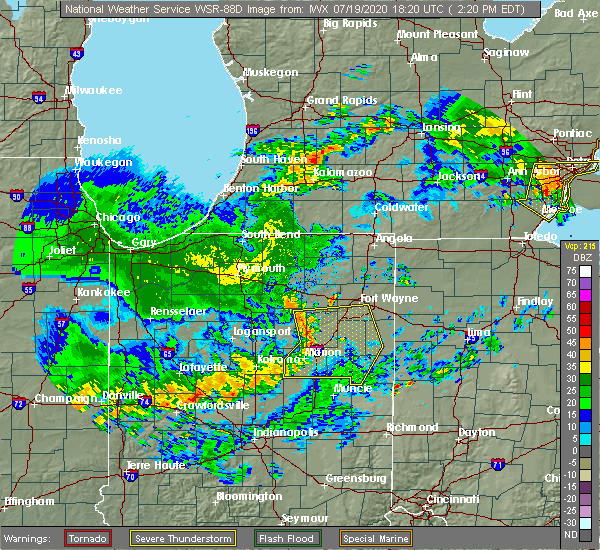 Radar Image for Severe Thunderstorms near Marion, IN at 7/19/2020 2:34 PM EDT