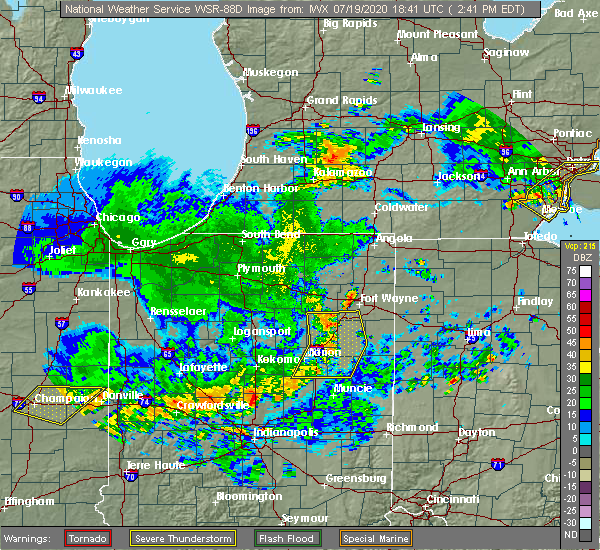 Radar Image for Severe Thunderstorms near Fort Wayne, IN at 7/19/2020 2:46 PM EDT