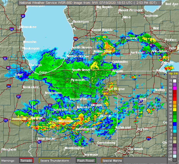 Radar Image for Severe Thunderstorms near Fort Wayne, IN at 7/19/2020 3:03 PM EDT