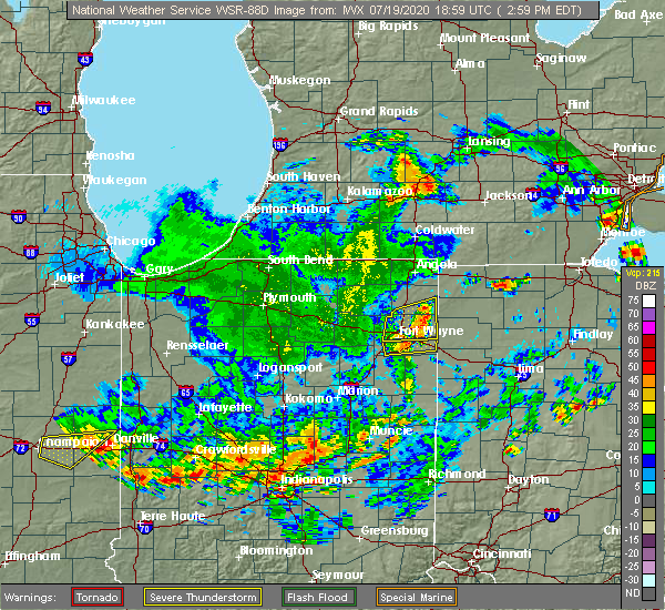Radar Image for Severe Thunderstorms near Fort Wayne, IN at 7/19/2020 3:05 PM EDT
