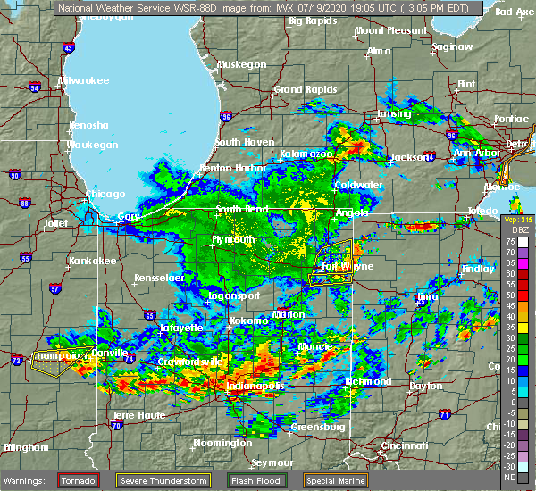 Radar Image for Severe Thunderstorms near Fort Wayne, IN at 7/19/2020 3:13 PM EDT