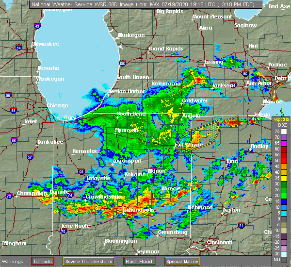 Radar Image for Severe Thunderstorms near Fort Wayne, IN at 7/19/2020 3:23 PM EDT