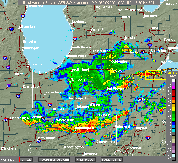 Radar Image for Severe Thunderstorms near Archbold, OH at 7/19/2020 3:36 PM EDT