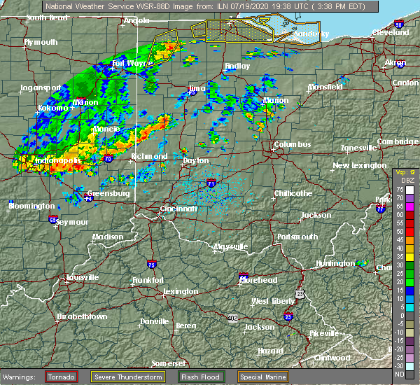 Radar Image for Severe Thunderstorms near Piqua, OH at 7/19/2020 3:41 PM EDT