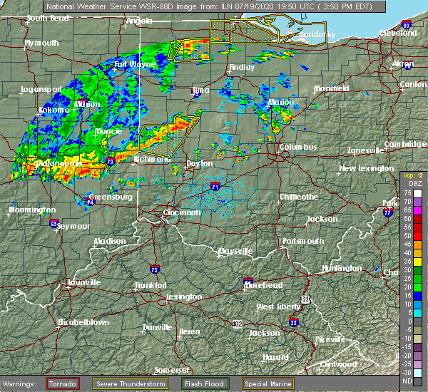 Radar Image for Severe Thunderstorms near Piqua, OH at 7/19/2020 3:55 PM EDT