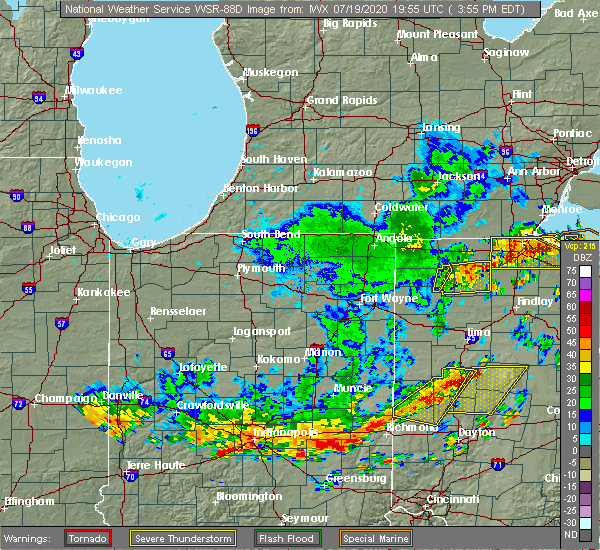 Radar Image for Severe Thunderstorms near Grand Rapids, OH at 7/19/2020 4:01 PM EDT