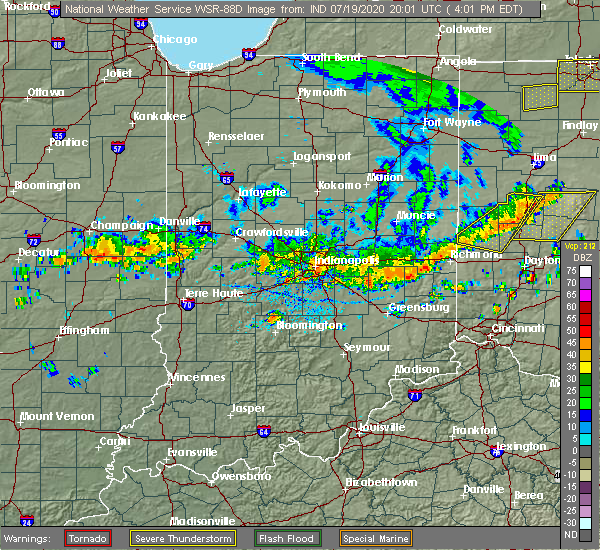 Radar Image for Severe Thunderstorms near Rushville, IN at 7/19/2020 4:05 PM EDT