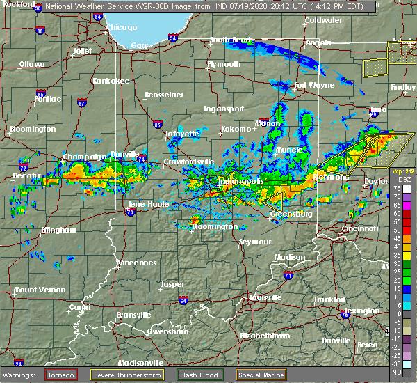 Radar Image for Severe Thunderstorms near Nashville, IN at 7/19/2020 4:15 PM EDT
