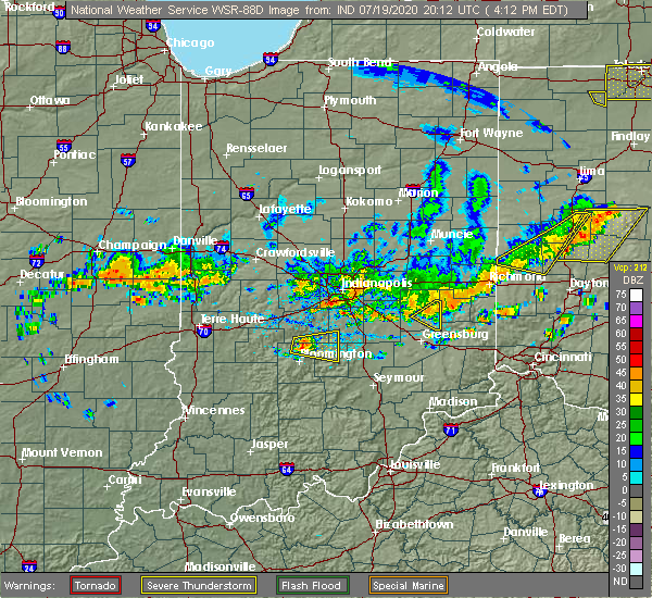 Radar Image for Severe Thunderstorms near Rushville, IN at 7/19/2020 4:25 PM EDT