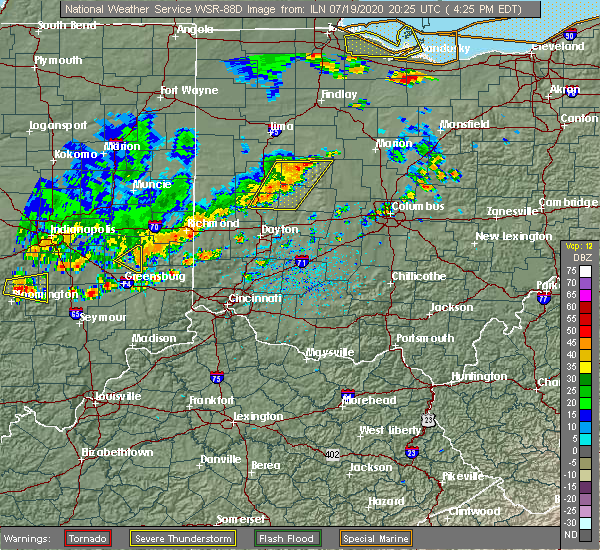 Radar Image for Severe Thunderstorms near Piqua, OH at 7/19/2020 4:27 PM EDT