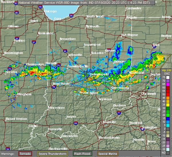 Radar Image for Severe Thunderstorms near Nashville, IN at 7/19/2020 4:33 PM EDT