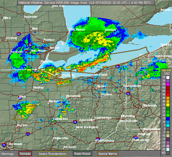 Radar Image for Severe Thunderstorms near Port Clinton, OH at 7/19/2020 4:35 PM EDT