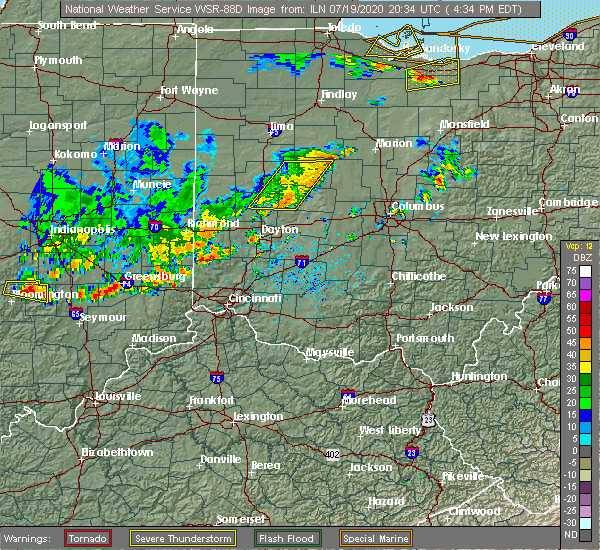 Radar Image for Severe Thunderstorms near Piqua, OH at 7/19/2020 4:42 PM EDT