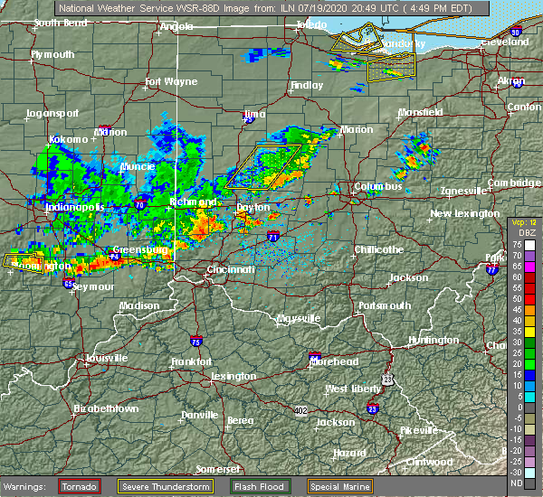 Radar Image for Severe Thunderstorms near Jamestown, OH at 7/19/2020 4:51 PM EDT