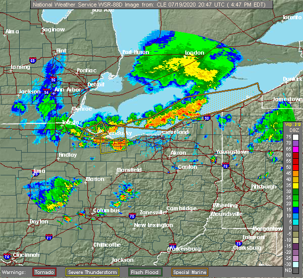 Radar Image for Severe Thunderstorms near Oberlin, OH at 7/19/2020 4:53 PM EDT