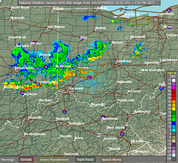 Radar Image for Severe Thunderstorms near Middletown, OH at 7/19/2020 4:59 PM EDT