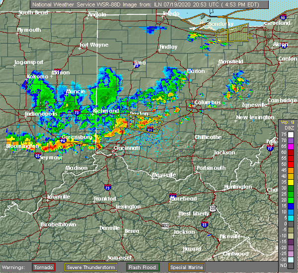 Radar Image for Severe Thunderstorms near Middletown, OH at 7/19/2020 5:06 PM EDT