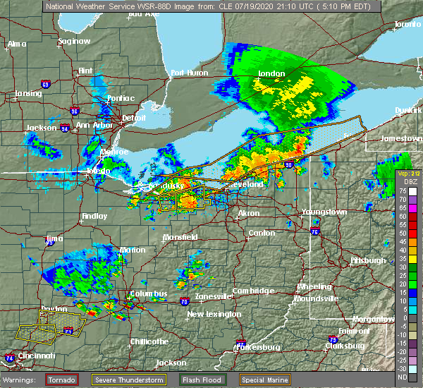 Radar Image for Severe Thunderstorms near Twinsburg, OH at 7/19/2020 5:21 PM EDT