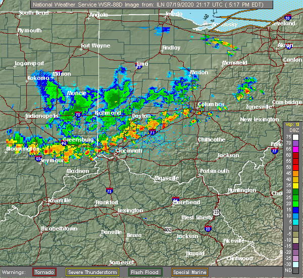 Radar Image for Severe Thunderstorms near Middletown, OH at 7/19/2020 5:23 PM EDT