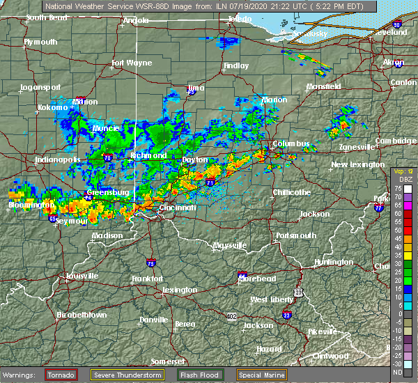 Radar Image for Severe Thunderstorms near Middletown, OH at 7/19/2020 5:27 PM EDT