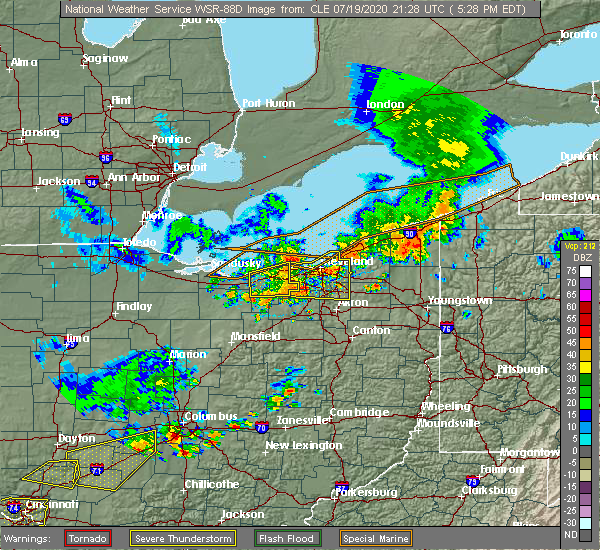 Radar Image for Severe Thunderstorms near Westlake, OH at 7/19/2020 5:31 PM EDT
