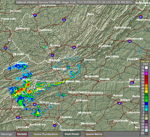 Radar Image for Severe Thunderstorms near White Plains, NC at 7/19/2020 5:35 PM EDT