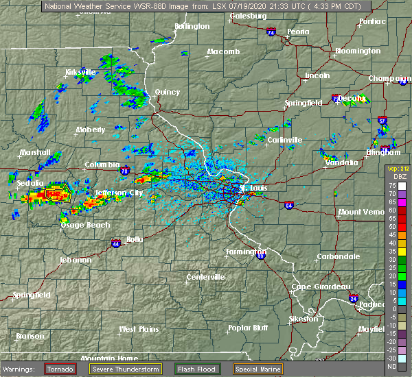 Radar Image for Severe Thunderstorms near Danville, MO at 7/19/2020 4:36 PM CDT