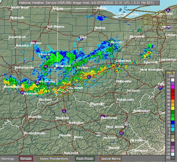 Radar Image for Severe Thunderstorms near Middletown, OH at 7/19/2020 5:39 PM EDT