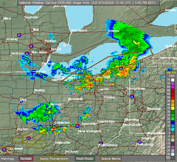 Radar Image for Severe Thunderstorms near Westlake, OH at 7/19/2020 5:42 PM EDT