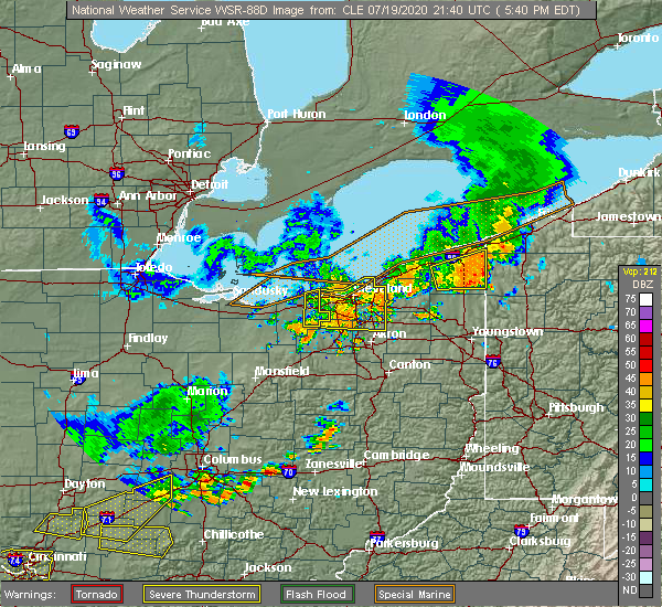 Radar Image for Severe Thunderstorms near Twinsburg, OH at 7/19/2020 5:46 PM EDT
