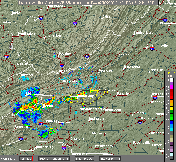Radar Image for Severe Thunderstorms near White Plains, NC at 7/19/2020 5:54 PM EDT
