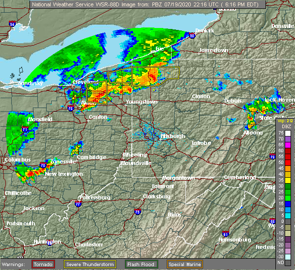 Radar Image for Severe Thunderstorms near Warren, OH at 7/19/2020 6:21 PM EDT