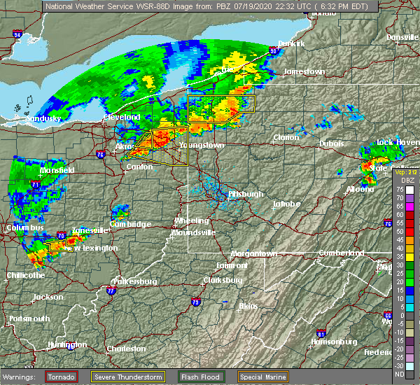 Radar Image for Severe Thunderstorms near Warren, OH at 7/19/2020 6:39 PM EDT