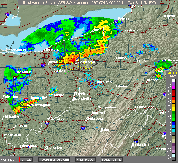 Radar Image for Severe Thunderstorms near West Middlesex, PA at 7/19/2020 6:47 PM EDT