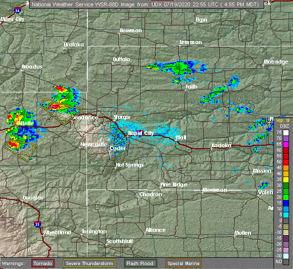 Radar Image for Severe Thunderstorms near Hulett, WY at 7/19/2020 4:58 PM MDT