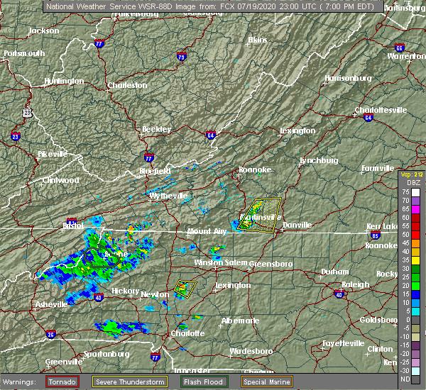 Radar Image for Severe Thunderstorms near Sandy Level, VA at 7/19/2020 7:03 PM EDT