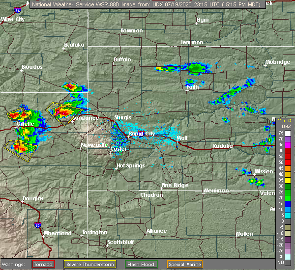 Radar Image for Severe Thunderstorms near Hulett, WY at 7/19/2020 5:20 PM MDT