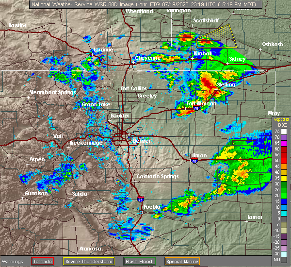 Radar Image for Severe Thunderstorms near Sterling, CO at 7/19/2020 5:34 PM MDT