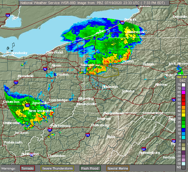 Radar Image for Severe Thunderstorms near Nixon, PA at 7/19/2020 7:38 PM EDT