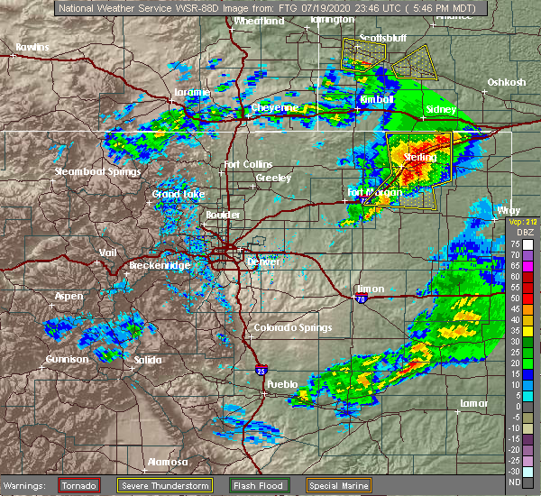 Radar Image for Severe Thunderstorms near Sterling, CO at 7/19/2020 5:50 PM MDT