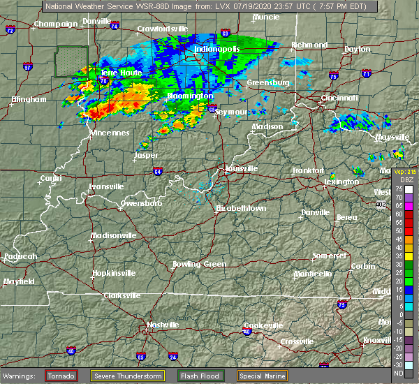 Radar Image for Severe Thunderstorms near Bedford, IN at 7/19/2020 8:01 PM EDT