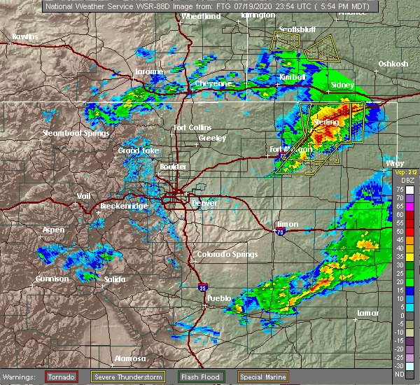 Radar Image for Severe Thunderstorms near Sterling, CO at 7/19/2020 6:05 PM MDT