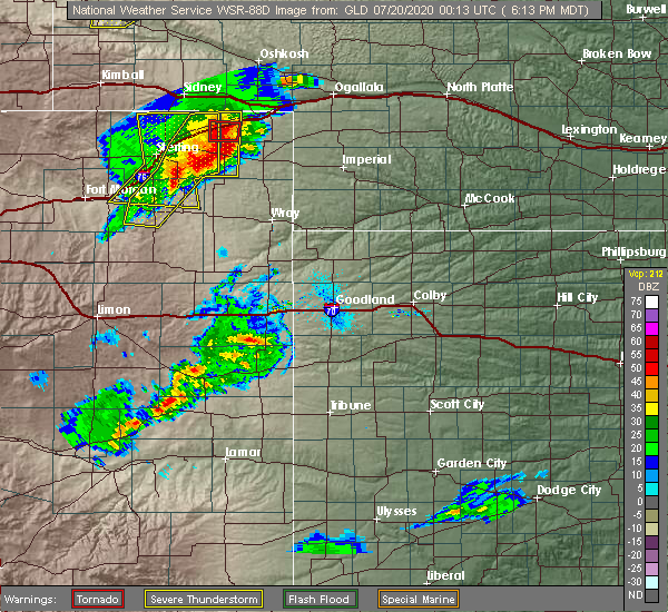 Radar Image for Severe Thunderstorms near Paoli, CO at 7/19/2020 6:17 PM MDT