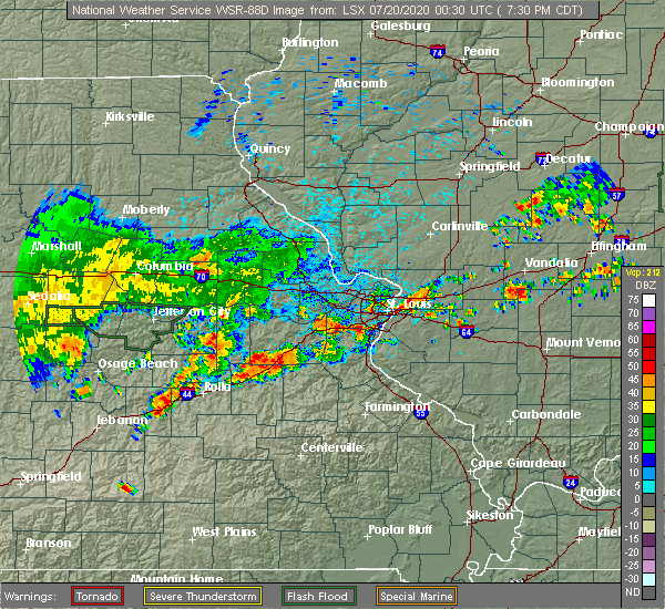 Radar Image for Severe Thunderstorms near Grantwood Village, MO at 7/19/2020 7:35 PM CDT